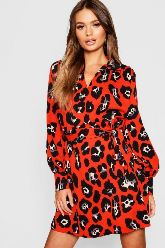 Womens Red Bold Leopard Shirt Dress