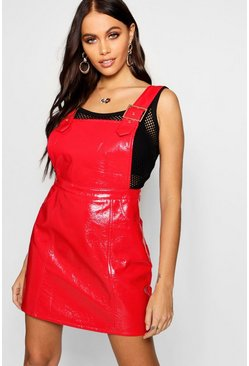 Womens Red Patent Buckle Detail Pinafore Dress