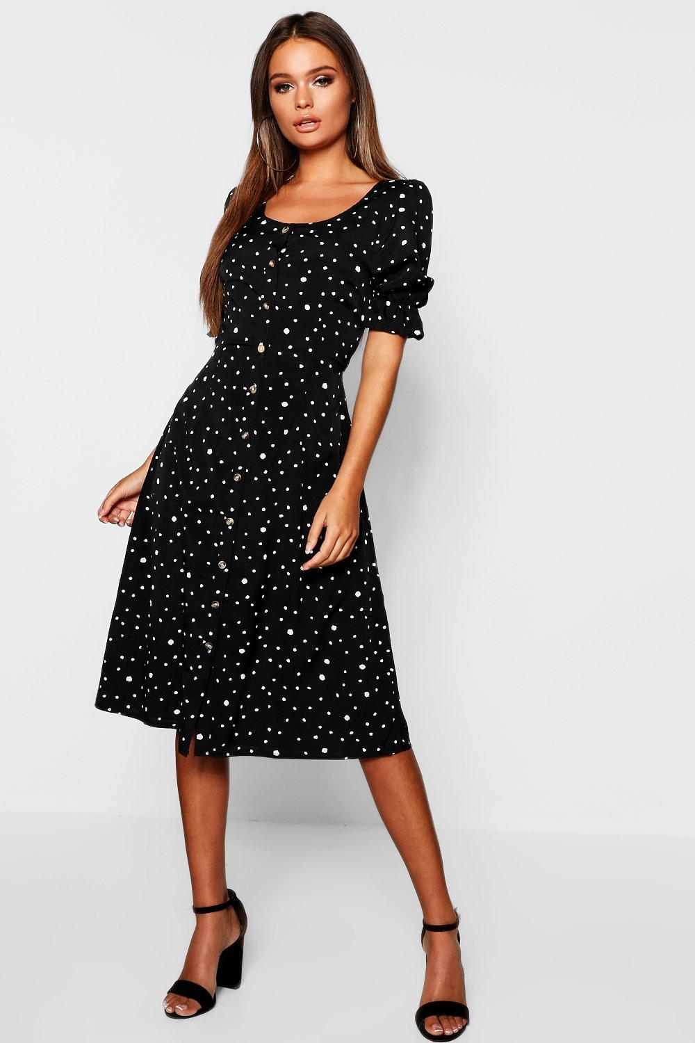 a76e1a28f36 Womens Dalmatian Polka Dot Button Through Midi Dress. Hover to zoom