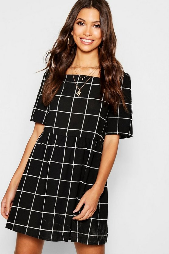 Textured Check Square Neck Smock Dress