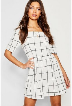 Womens Ivory Textured Check Square Neck Smock Dress
