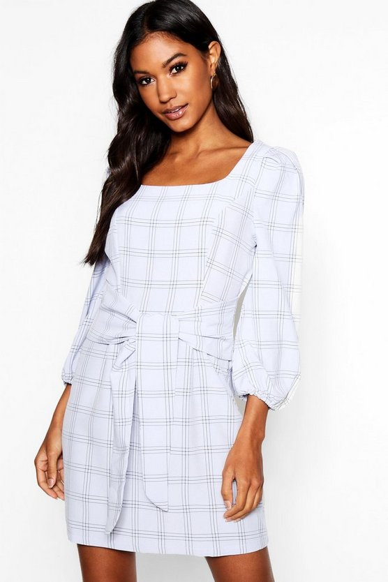 Rouched Sleeve Tie Waist Checked Shift Dress