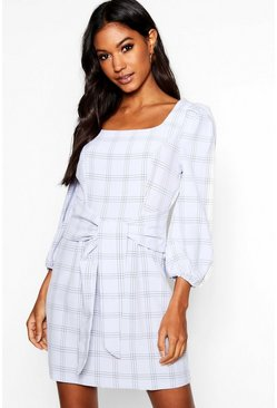 Womens Grey Rouched Sleeve Tie Waist Checked Shift Dress
