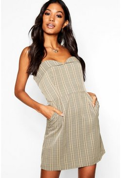 Womens Yellow Sweetheart Neck Checked Mini Slip Dress