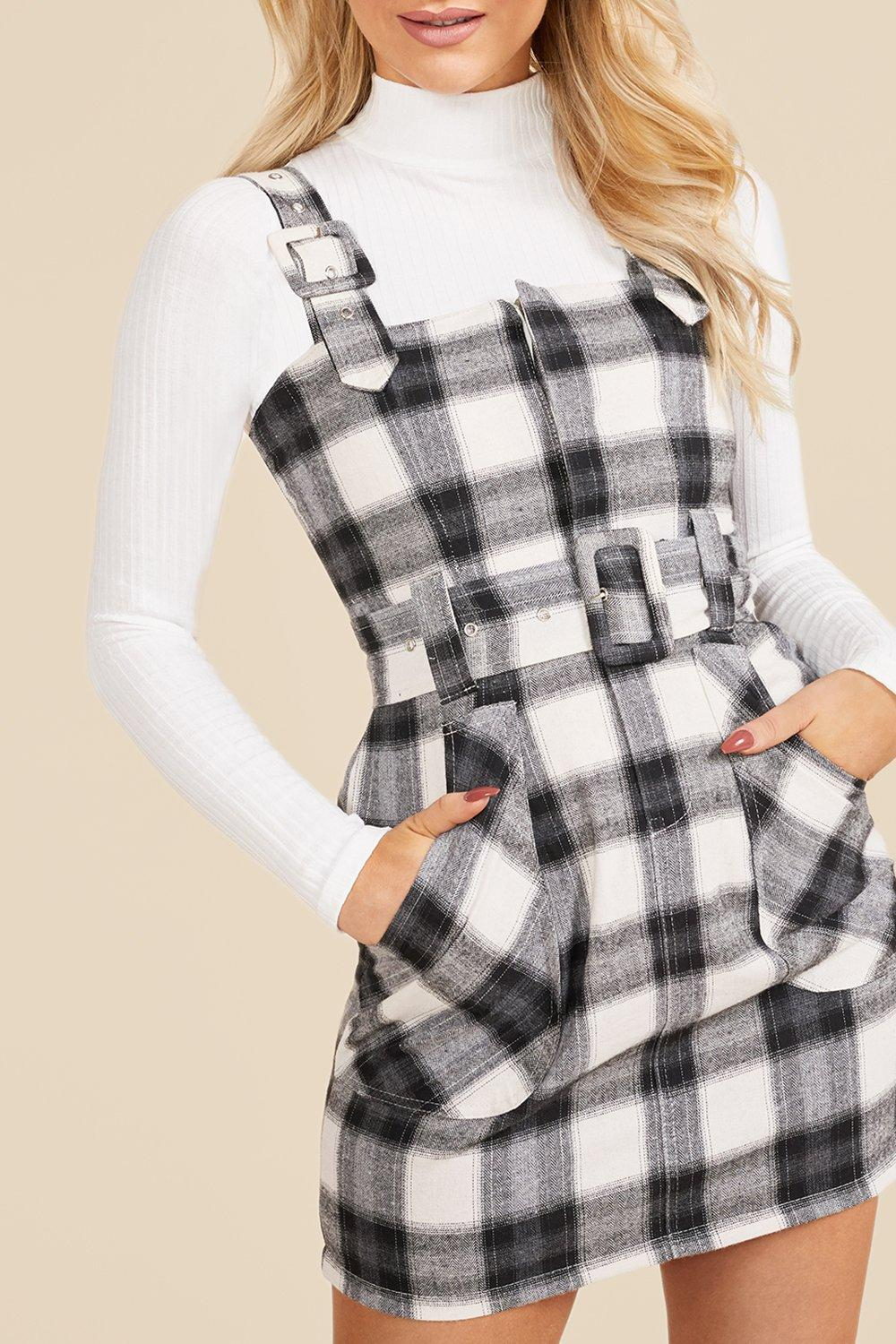 90s Clothing Outfits You Can Buy Now Womens Flanneled Buckle Detail Pinafore Dress - Black - 12 $14.40 AT vintagedancer.com