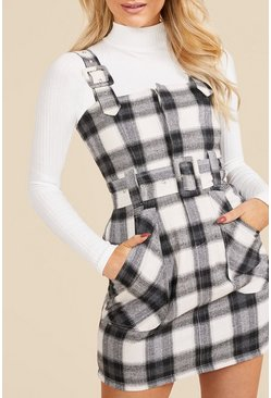 Womens Black Checked Buckle Detail Pinafore Dress