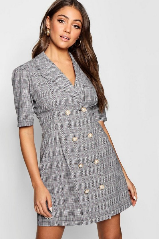 Pearl Button Checked Tailored Blazer Dress