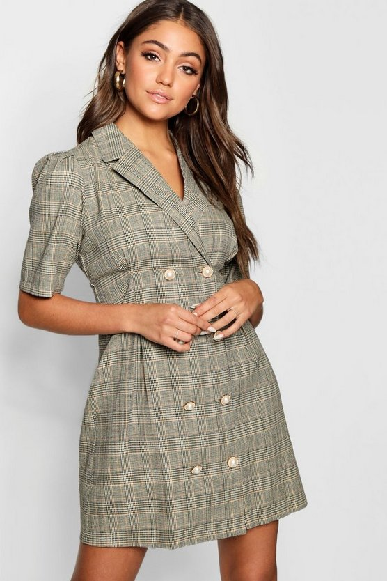 Womens Taupe Pearl Button Checked Tailored Blazer Dress