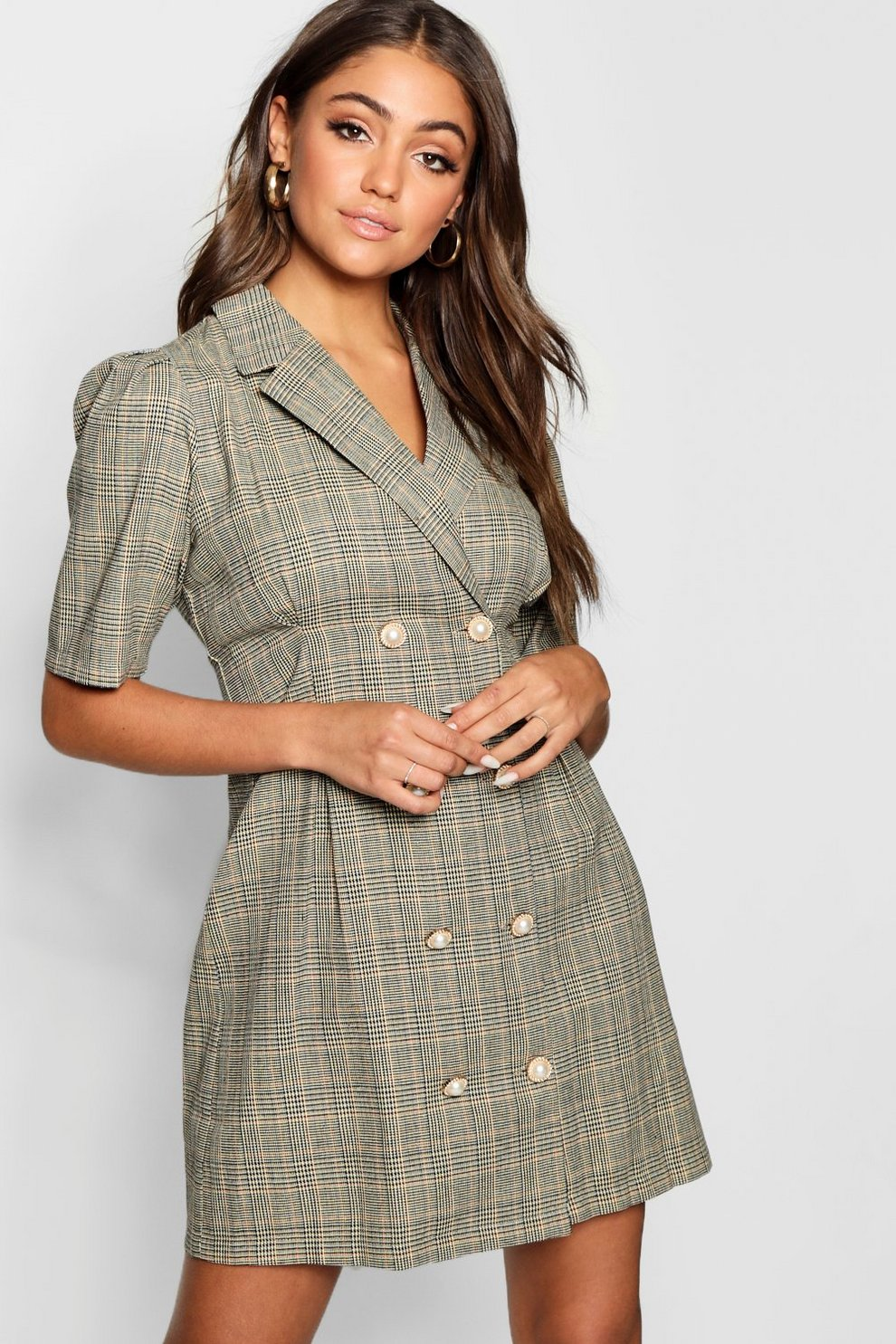 202f1995015 Womens Taupe Pearl Button Checked Tailored Blazer Dress. Hover to zoom