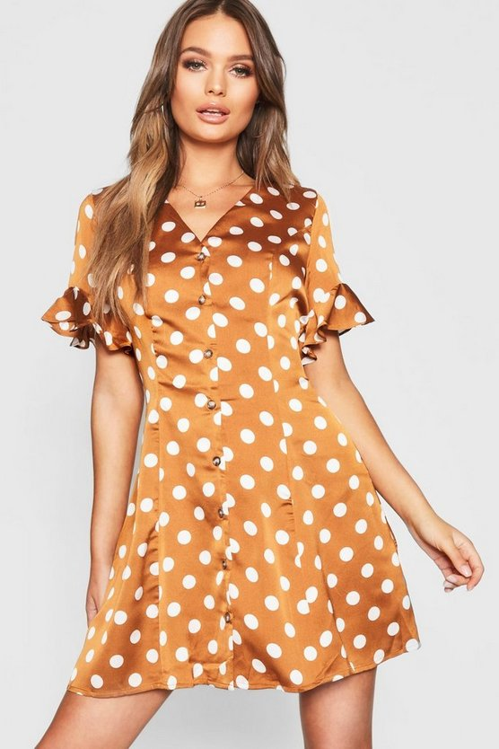 Womens Mustard Button Front Polka Dot Flared Sleeve Shift Dress