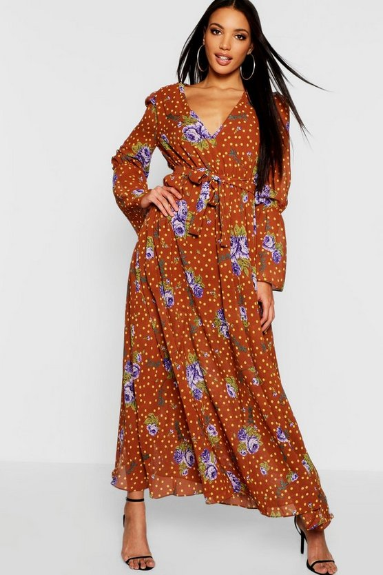 Bohemian Tie Neck Floor Sweeping Maxi Dress