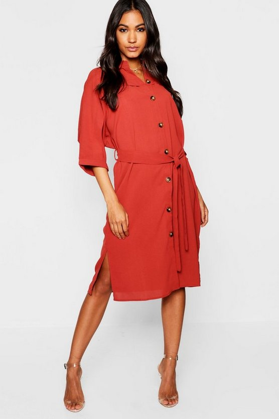 Horn Button Oversized Midaxi Shirt Dress