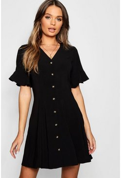 Black Button Through Flared Sleeve Shift Dress