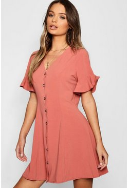 Womens Rose Button Through Flared Sleeve Shift Dress