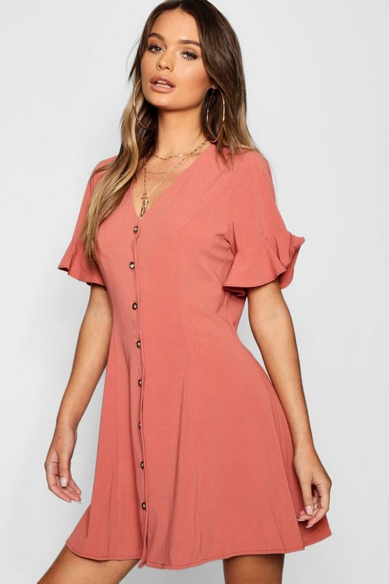 Button Through Flared Sleeve Shift Dress