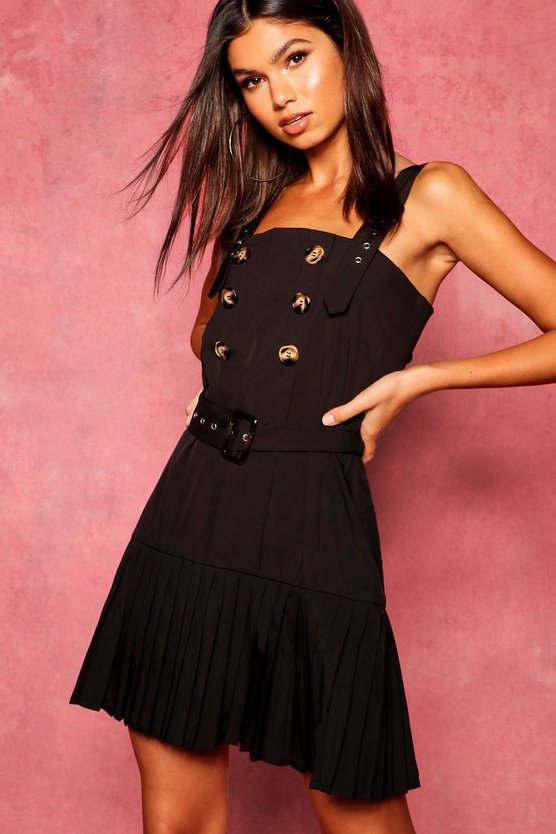 Black Horn Button Pleated Pinafore Dress
