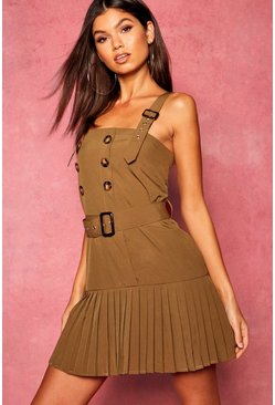 Womens Khaki Horn Button Pleated Pinafore Dress