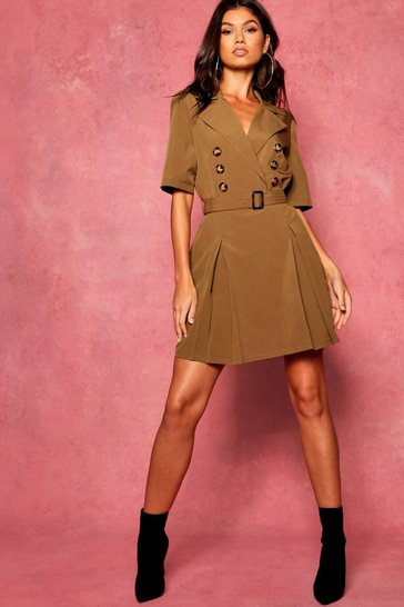 Womens Olive Horn Button Belted Utility Blazer Dress