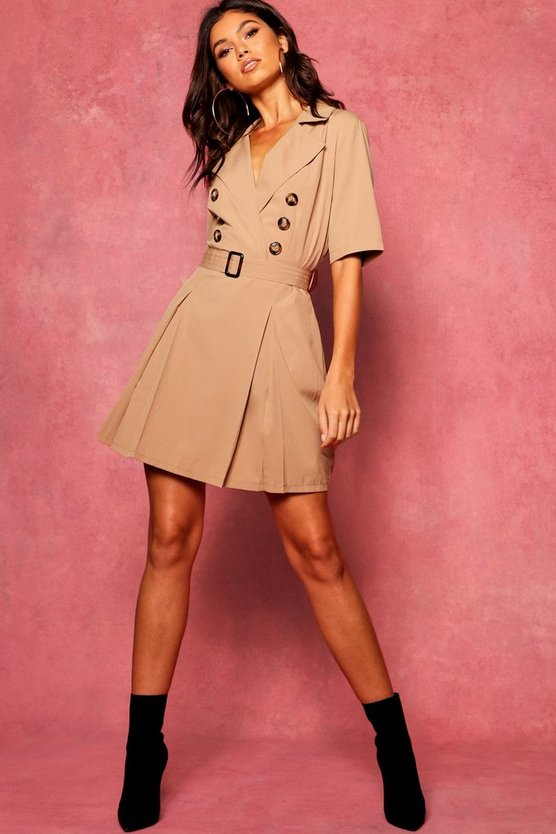 Horn Button Belted Utility Blazer Dress