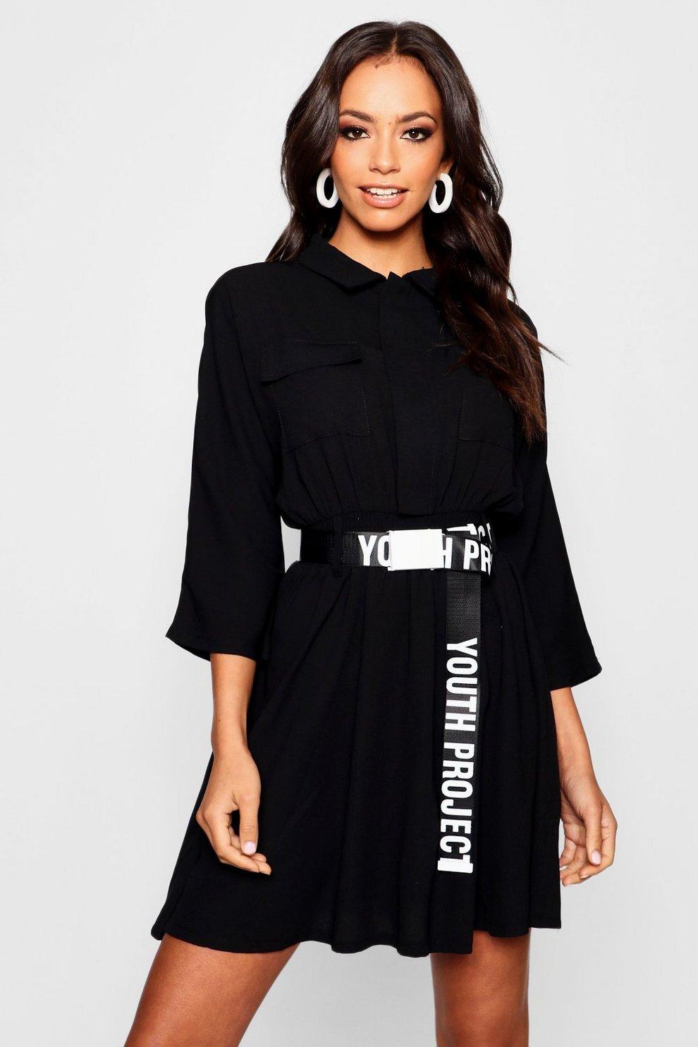 6d83b5988a Robe chemise fonctionnelle à ceinture | Boohoo