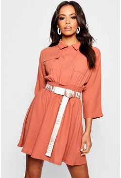 Womens Brick Belted Utility Shirt Dress