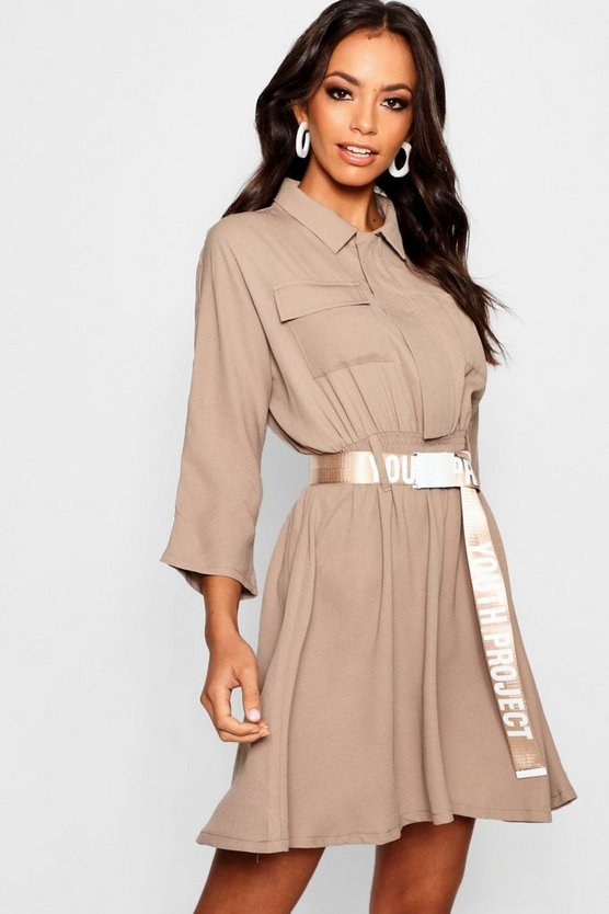 Belted Utility Shirt Dress