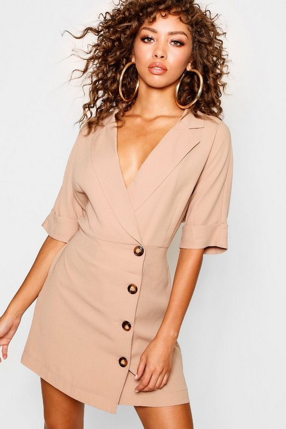Wrap Front Horn Button Shirt Dress