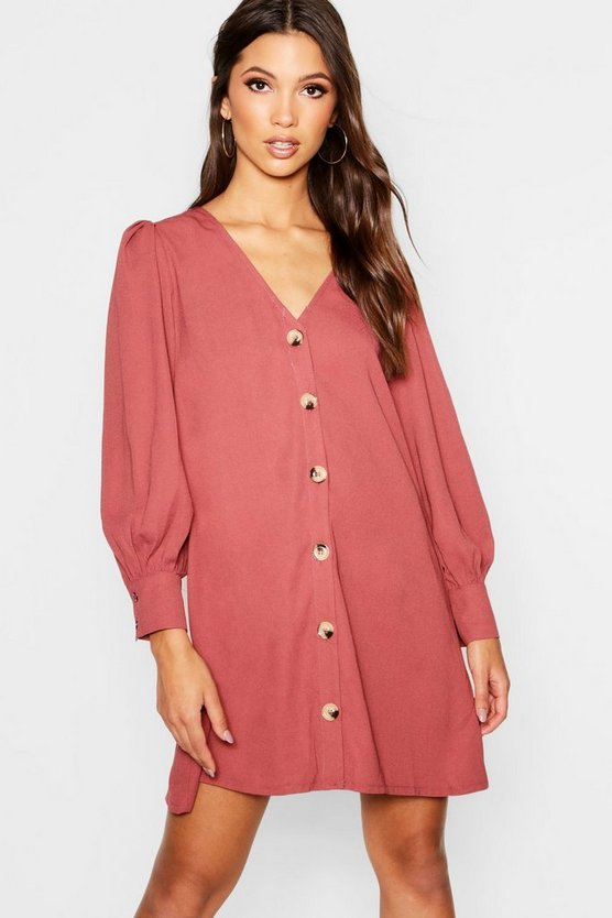Horn Button Through Balloon Sleeve Shift Dress