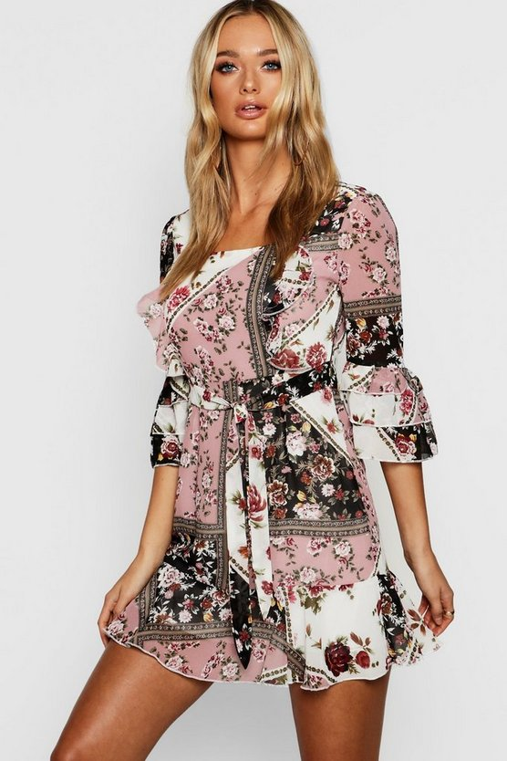 Mixed Print Button Front Tea Dress