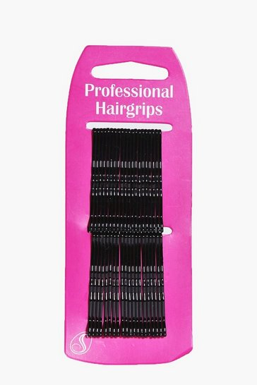 Womens Black Kirby Hair Grips 40 Pack
