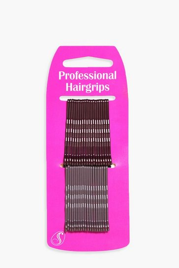 Womens Brown Brunette Kirby Hair Grips 40 Pack