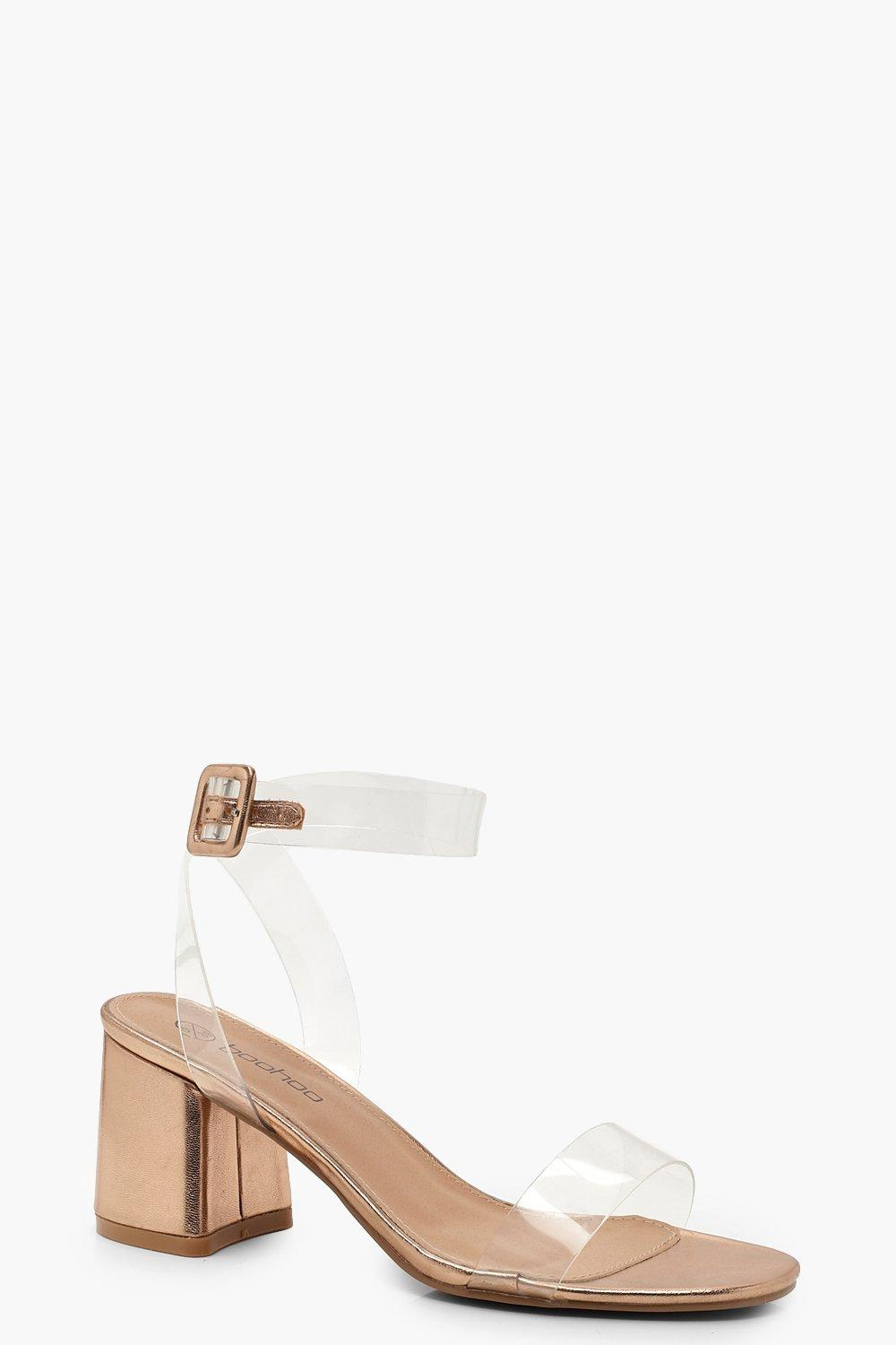 Extra Wide Fit Metallic Clear Strap 2 Part Heels