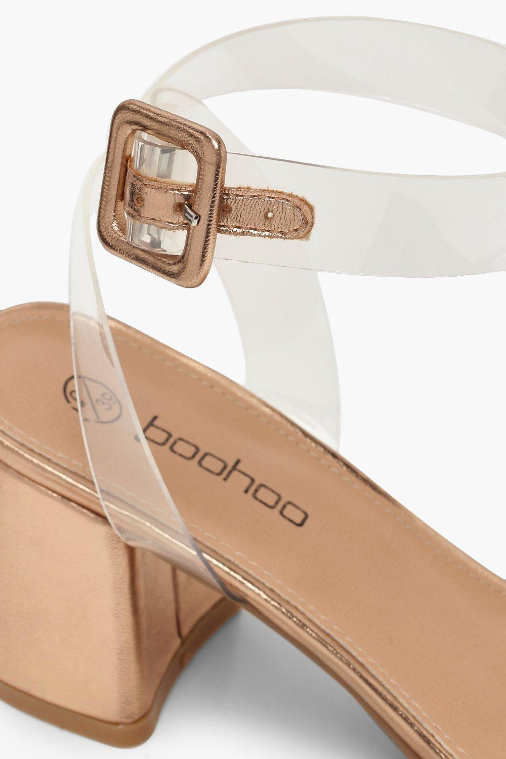 2e03596de8d1 Boohoo Womens Extra Wide Fit Metallic Clear Strap 2 Part Heels in Rose Gold  size