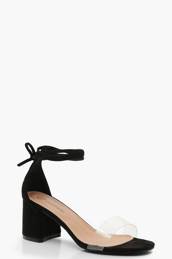 Black Extra Wide Fit Wrap Strap Block Heels