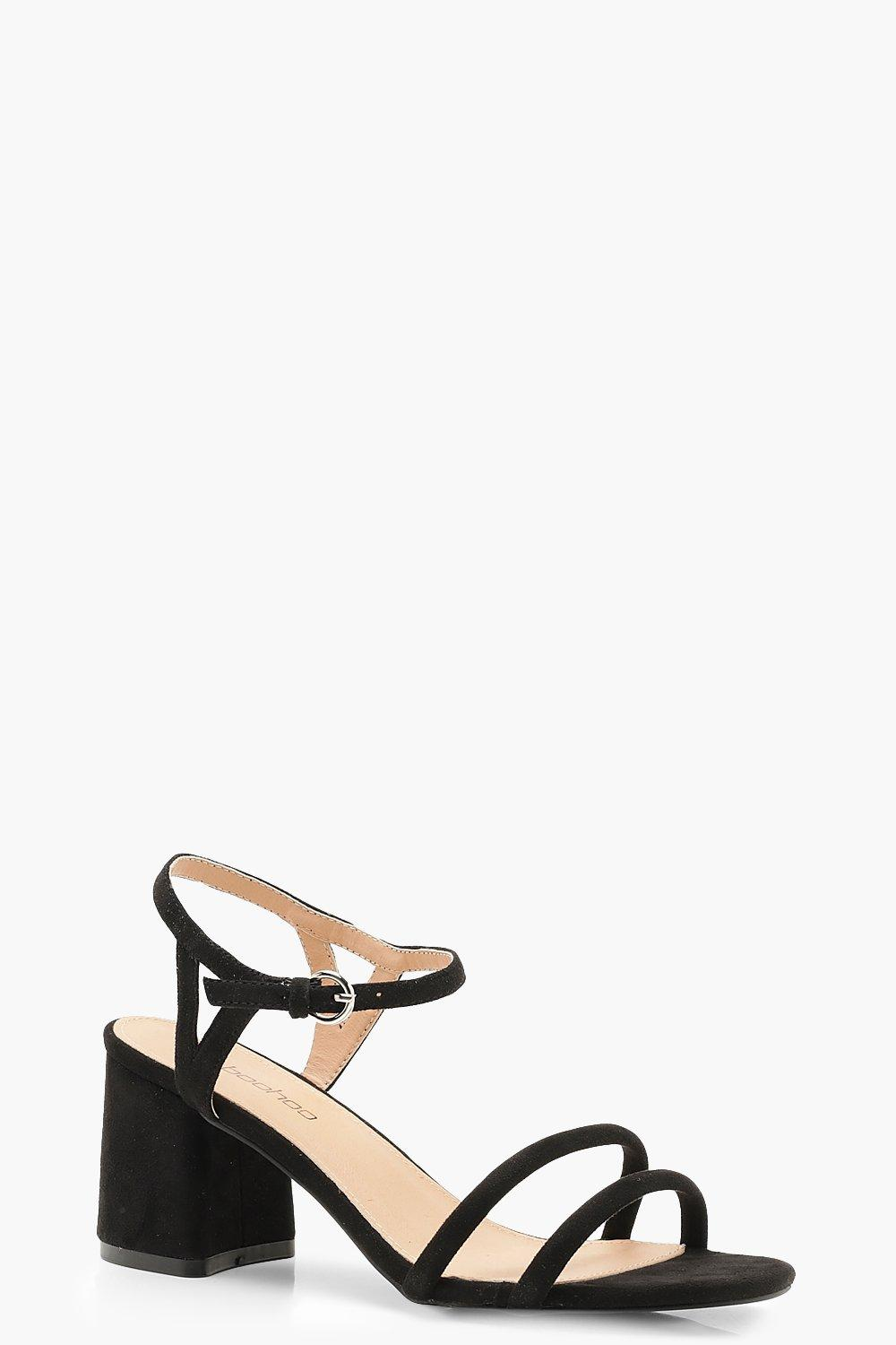 fdc66f385c16b Womens Black Extra Wide Fit Double Strap 2 Part Heels. Hover to zoom