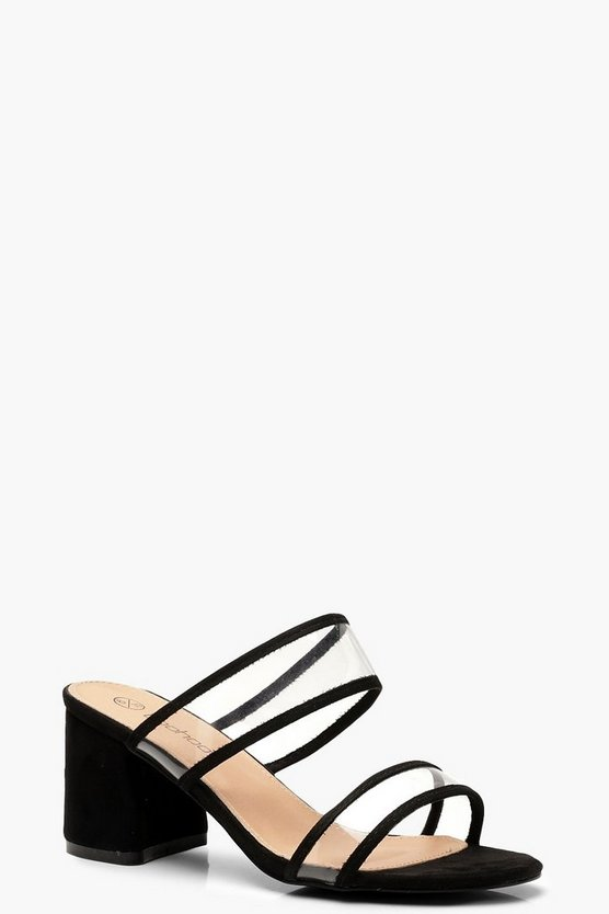 Extra Wide Fit Clear Strap Block Heel Mules