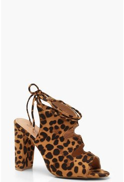 Womens Wide Fit Leopard Cut Work Shoe Boots