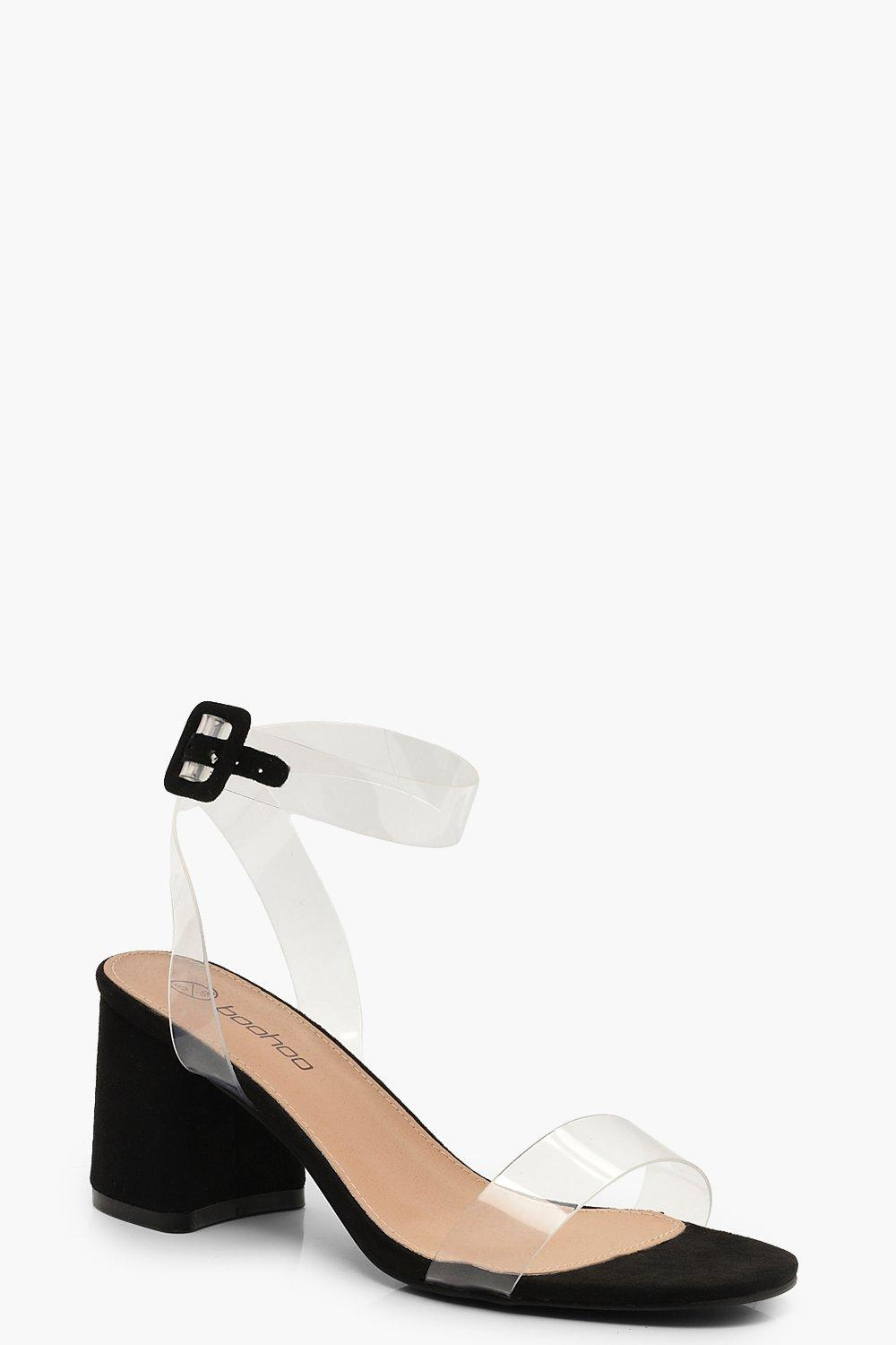 0b524427b2a1 Details about NEW Boohoo Womens Wide Fit Clear Strap 2 Part Block Heels in