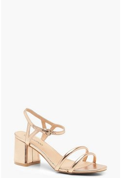 Wide Fit Metallic Double Strap 2 Part Heels, Rose gold, Donna