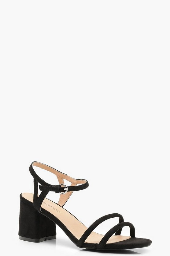 Black Wide Fit Double Strap 2 Part Heels