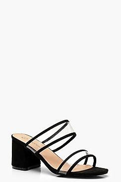 Wide Fit Clear Block Heel Mules