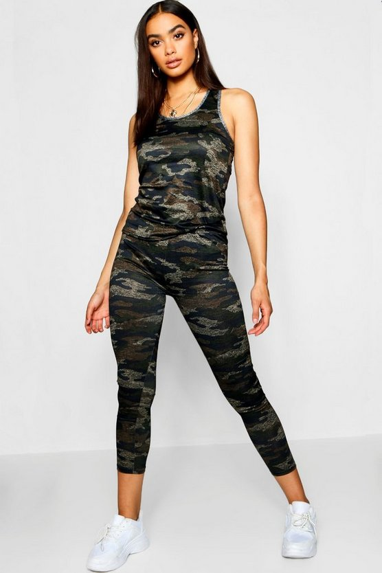 Camo Print Sports Vest Top And Leggings