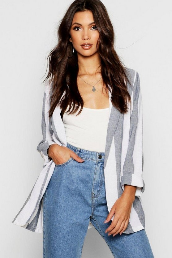 Linen Look Stripe Blazer