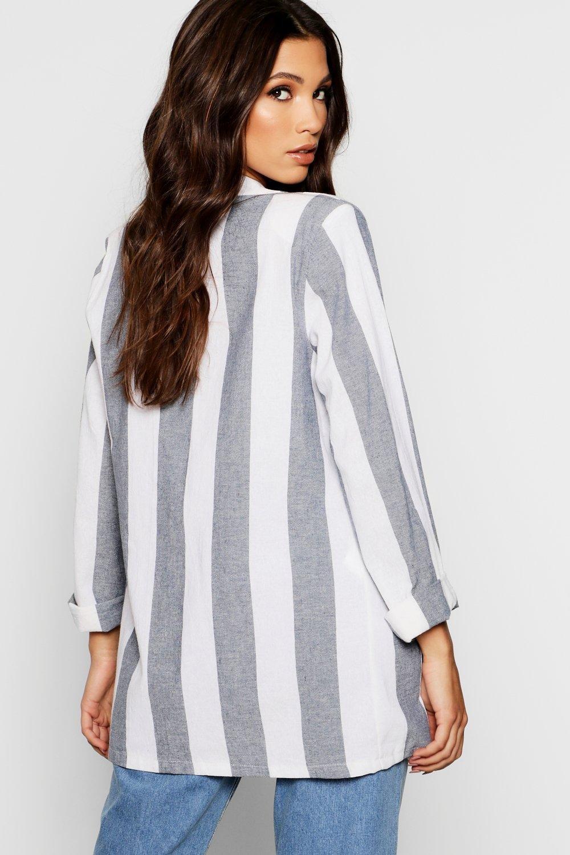 Linen Linen Look Stripe Look Blazer Stripe Blazer Linen Look U4vnPwqX