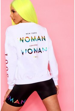 Woman Rainbow Slogan Foil Print Oversized Sweat, White, DAMEN