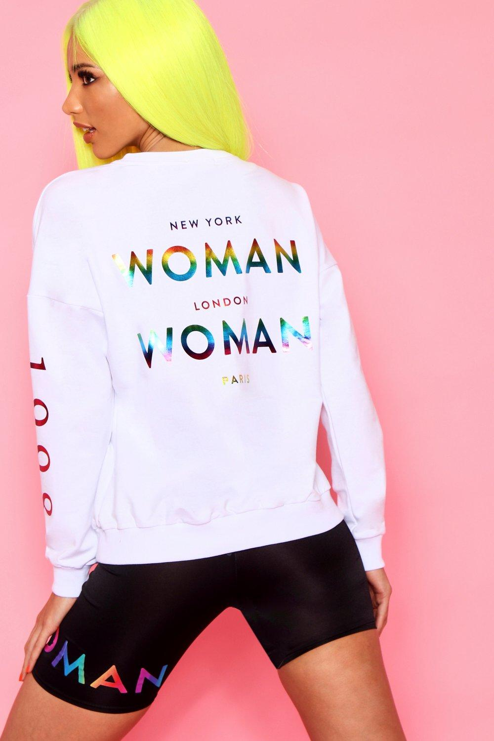 Foil Woman Rainbow Oversized Print white Sweat O5RHq