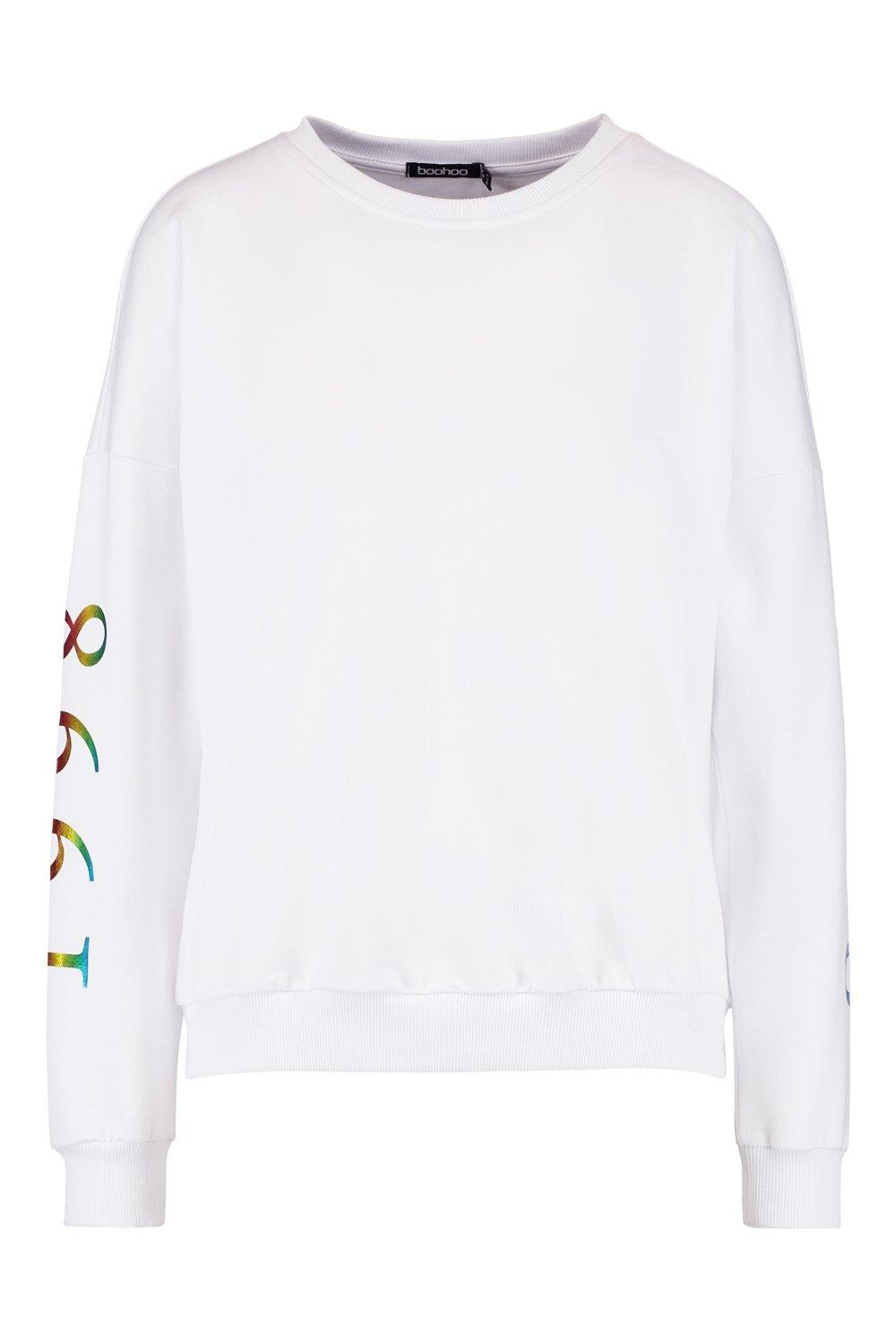 Woman Oversized Print Foil Rainbow white Sweat rtHwrY