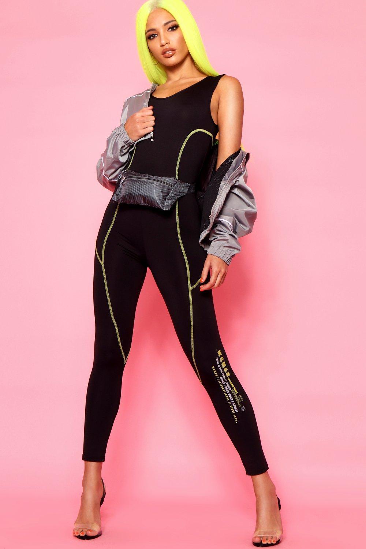 Stitch black Disco Contrast Slinky Woman Catsuit fwFaTWUx