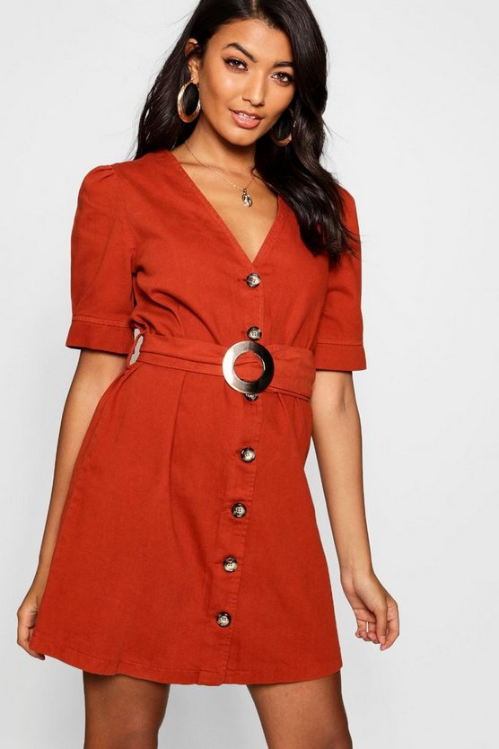 Rust Mock Horn Button Belted Denim Dress