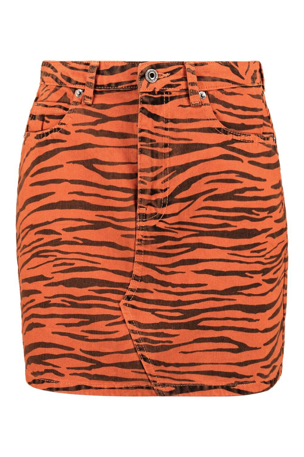 Tiger tan Skirt Denim Print Tiger Print Denim x7nwO6